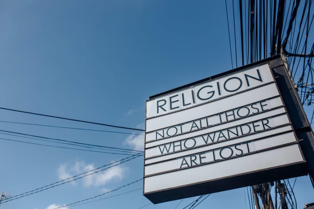 Travel photography Bali - Nusa-Lembongan - Religion billboard