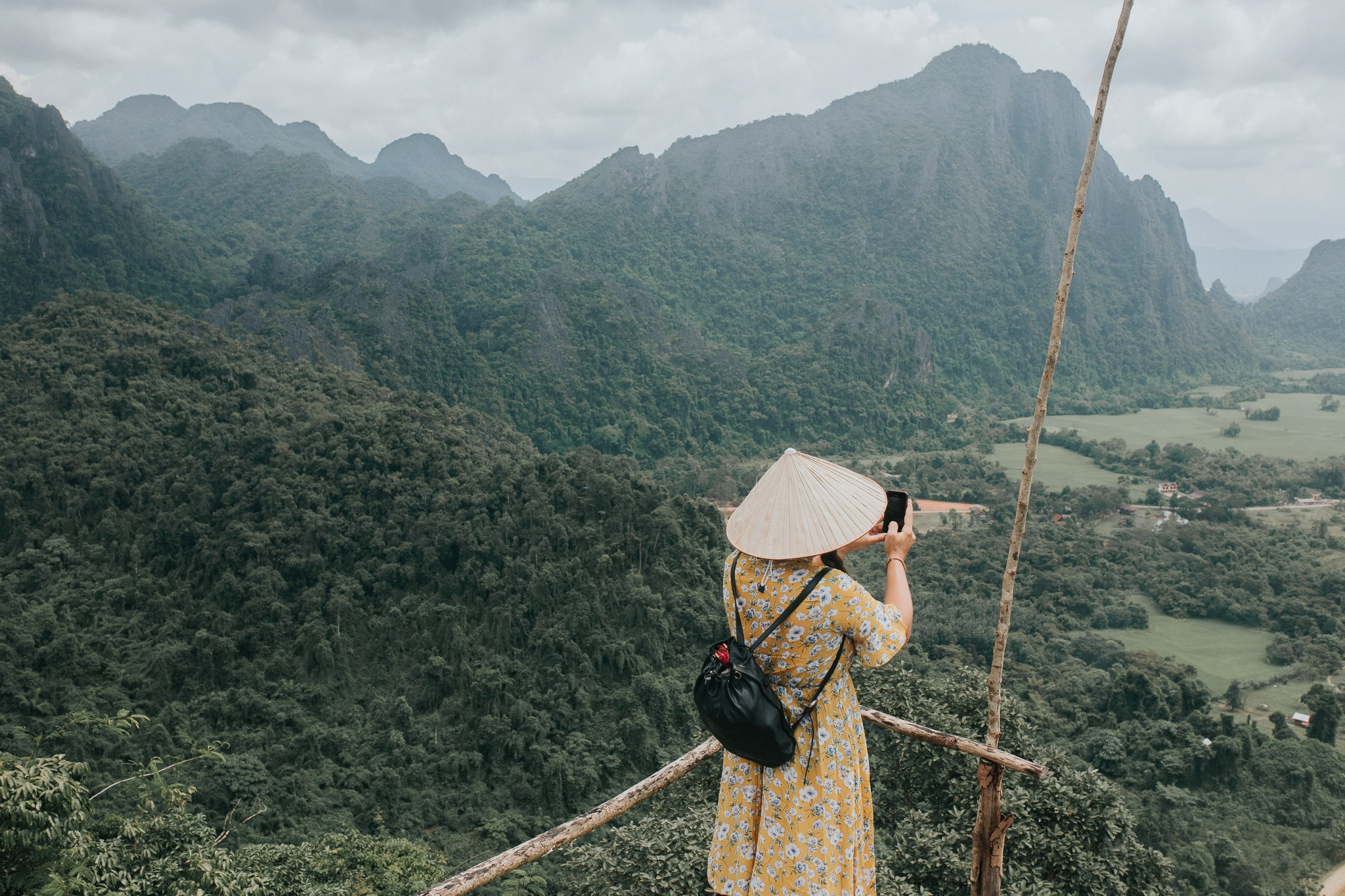 On week in Laos - Vang Vieng - Tourist taken pictures from Nam Xai viewpoint